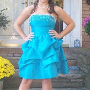 Teal Homecoming Dress with Pearl Beading 👗